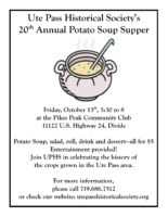 Mark Your Calendars! The 20th Annual Potato Soup Supper October 13th
